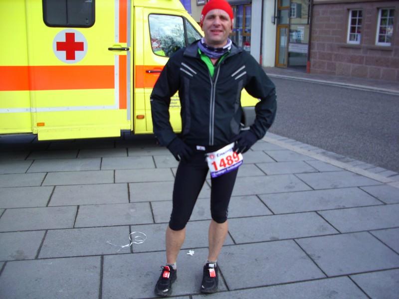 Klaus Scheele nach dem Finish im Stadtzentrum!