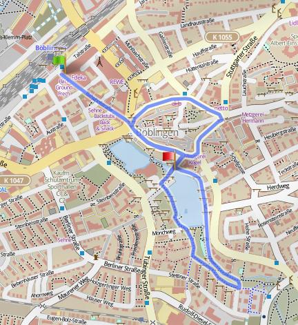 Stadtlauf Strecke 2015, Material von GPSies / Openstreetmap.org